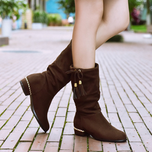 Hot sales Nubuck Leather women boots fashion Tassel Bowtie Slip-On Mid-Calf Solid winter Boots Square heel shoes size 34-43
