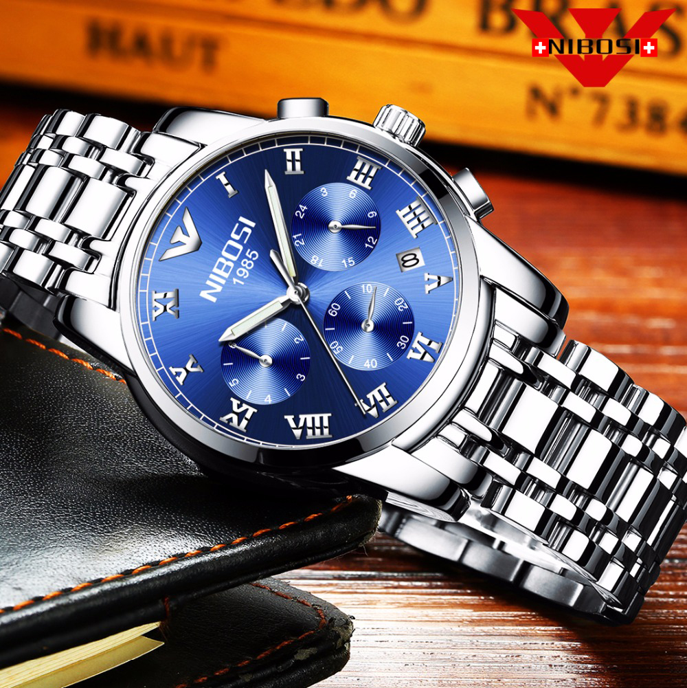 NIBOSI Relojes Top Luxury Brand Quartz watch men Casual Import quartz-watch stainless steel Mesh strap ultra thin clock male New