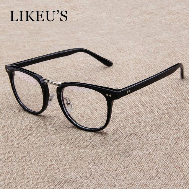 97745ad6ef LIKEU S Square Glasses Frame Men 2018 High Quality Prescription Eye Optical  rivet Glasses frame retro Women Spectacle Eyewear