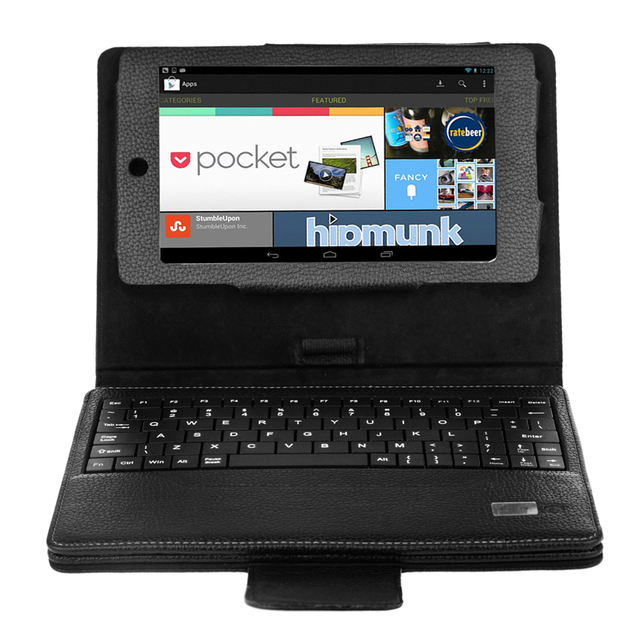 For Google Nexus 7 1st Gen Leather Case Cover & Detachable Wireless Bluetooth Keyboard