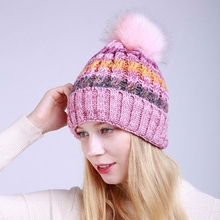 New Fashion Winter Warmer Hat Cap  Women Winter Head Warm Assorted Colors Knitted Wool Hat Ski Caps Beanie  Women's Clothing