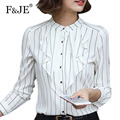 F&JE New 2017 Spring Fashion Korean Style Women High Quality All-matched Blouse Elegant Striped Long Sleeve Chiffon Shirt J561