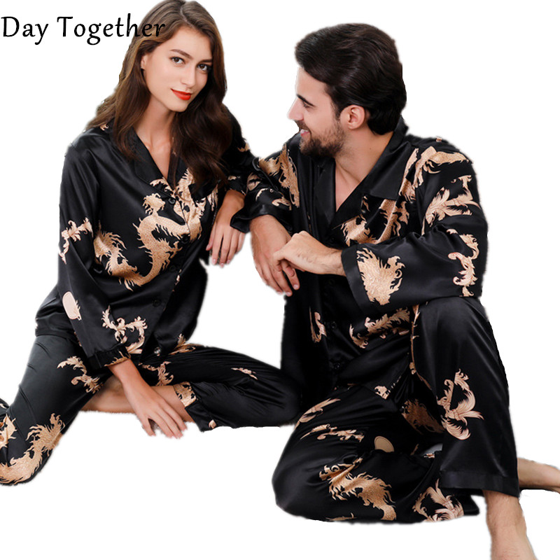 Summer Lovers Couple Silk Pajamas Pyjama Set For Women Men Chinese Wind Dragon Print Long-sleeved Sleepwear Rayon Home Clothes