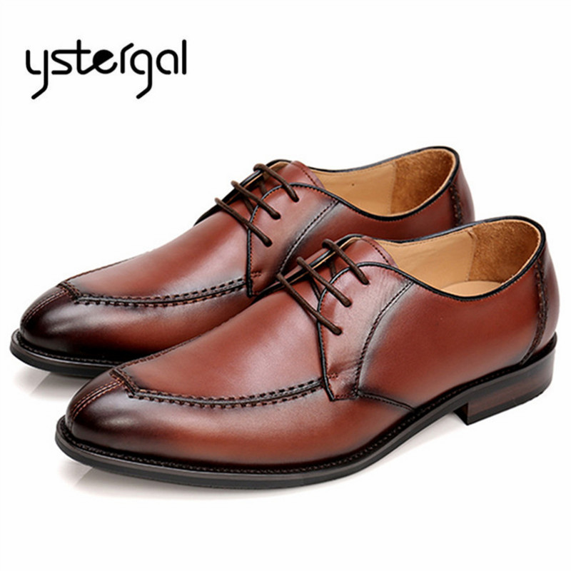 YSTERGAL Mens Lace Up Genuine Leather Formal Dress Shoes Designer Wedding Shoes Men Business Oxfords Chaussure Homme Creepers ystergal 2018 new fashion men sneakers casual flat shoes men lace up creepers mens flats tenis masculino adulto chaussure homme