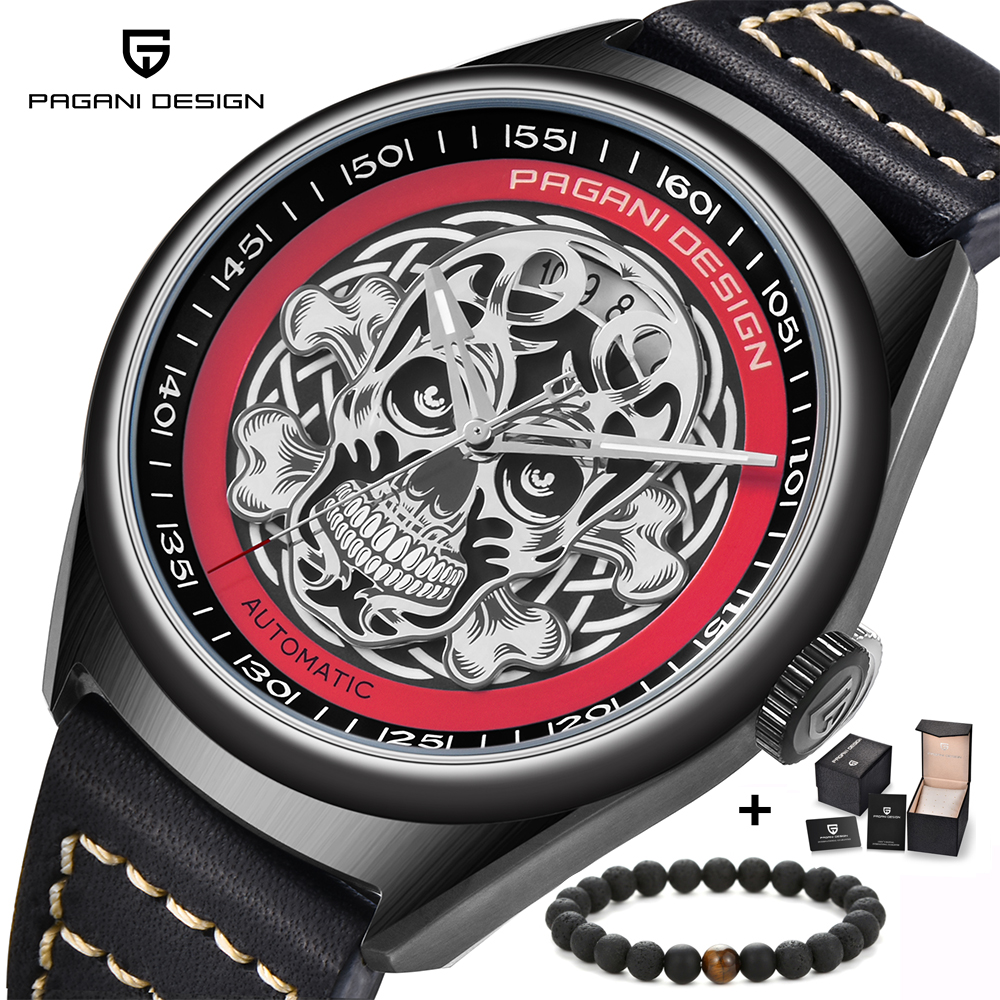 PAGANI DESIGN 3D Skeleton Punk Style Men's Mechanical Watches Top Luxury Brand Fashion Casual Waterproof Leather Automatic Watch mens mechanical watches top brand luxury watch fashion design black golden watches leather strap skeleton watch with gift box