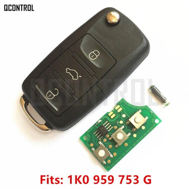 QCONTROL llave de control remoto para VW/VOLKSWAGEN CADDY/EOS/GOLF/JETTA/SIROCCO/TIGUAN/TOURAN 1K0959753 1K0 959 de 753 a 434 MHz con ID48 Chip