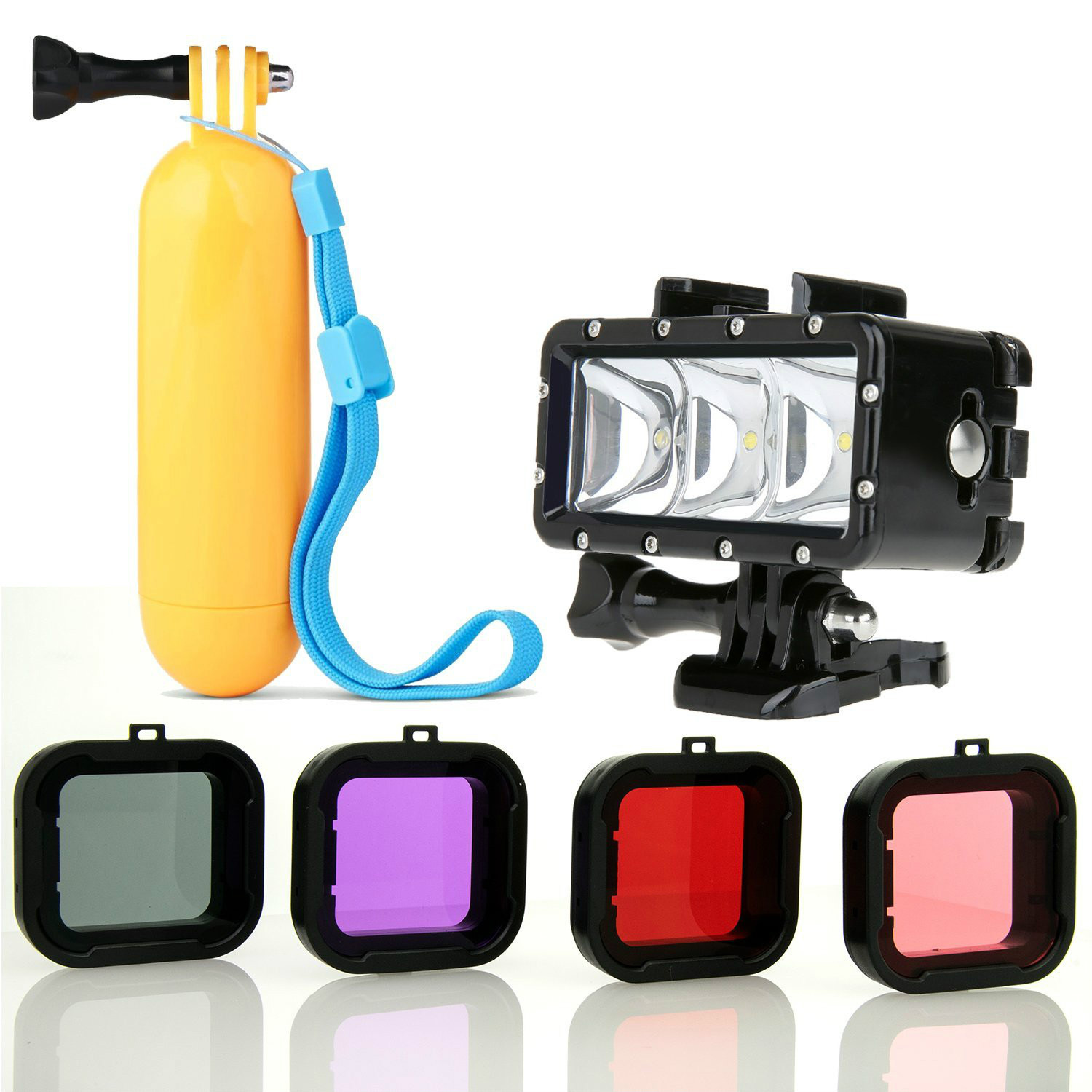 Floating Hand Grip Waterproof LED Flash Light Scuba 4PC Filter For GoPro HERO4 HERO3 Black Silver