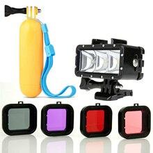 Плавающей Рукоятки + Водонепроницаемый СВЕТОДИОДНАЯ Вспышка Света + Подводное 4 ШТ. Фильтр Для GoPro HERO4, HERO3 +, черный, серебро и Экшн Камеры
