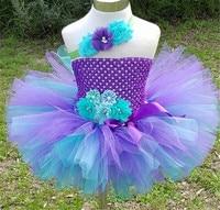 Flower fairy mermaid Tutu Tulle Tutu with Hair Hoop Princess Flower Girls Party Dress Children Kids Halloween Costume 2 10Y