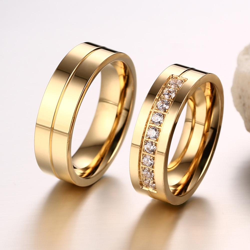 AAA + Cubic Zirconia Par Ring Guldfärg Ring för Kvinnor Man - Märkessmycken - Foto 6