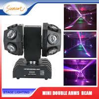 Livraison gratuite mini double bras faisceau de tête mobile laser effet de scène lumière pour dj disco dmx contrôle RGBW lavage stroboscope éclairage
