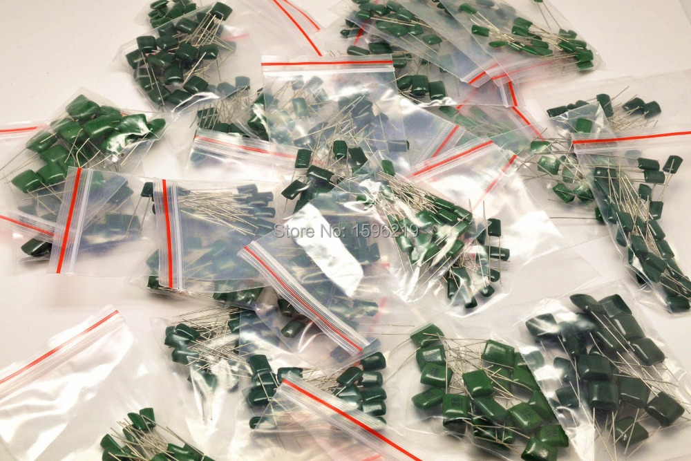 100V Mylar Film Capacitor Assorted Kit 2A221~2A474J 220pF~470nF 38value X 10pcs Polyester Film Capacitor