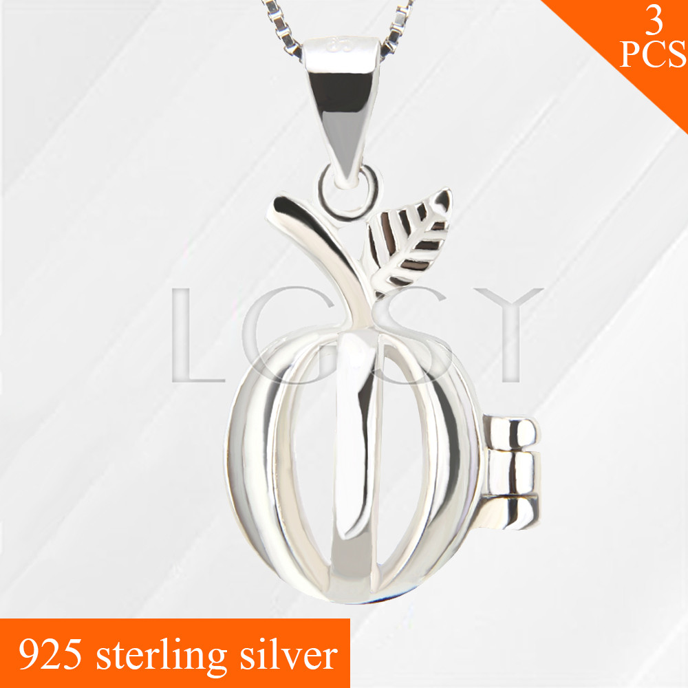 LGSY fashion Apple 925 sterling silver locket necklace pendants hollow skeleton cage pendants Fruit charms 3pcs, free shipping