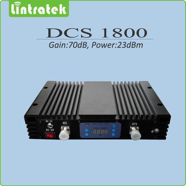 Alto ganho 70dB impulsionador do sinal do telefone móvel 1800 repetidor de sinal DCS 1800 mhz celular signal booster com display lcd AGC/MGC
