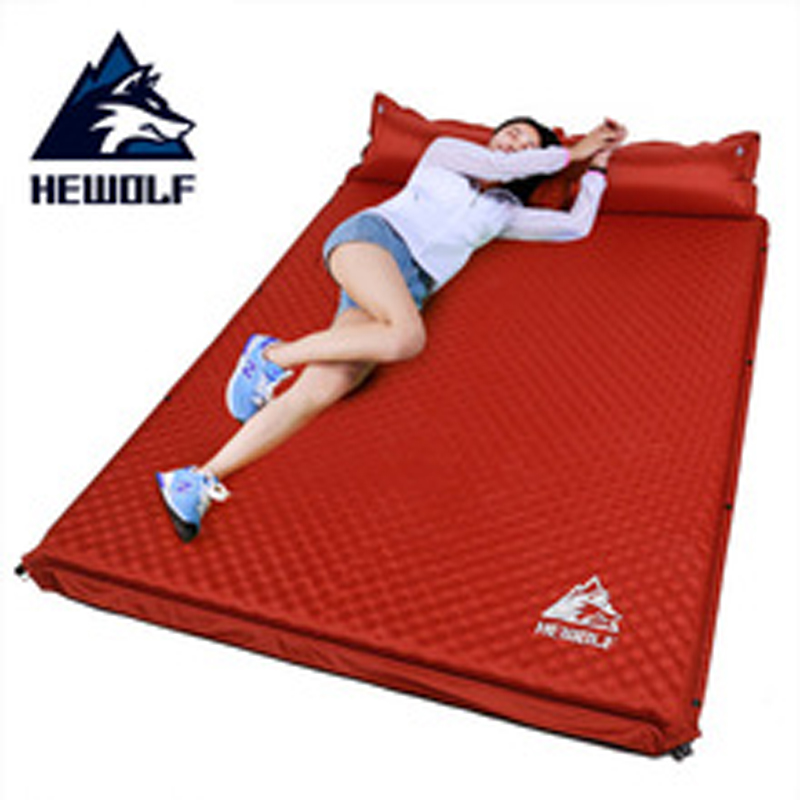 цена на Hewolf Outdoor Thick 5cm Automatic Inflatable Cushion Pad Outdoor Tent Camping Mats Double Inflatable Bed Mattress 2 Colors