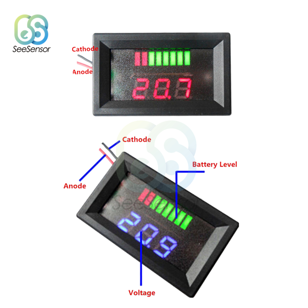 12V 24V ACID Lead Battery Charge Level Indicator Battery Tester Lithium Battery Capacity Meter LED Tester Voltmeter Dual Display