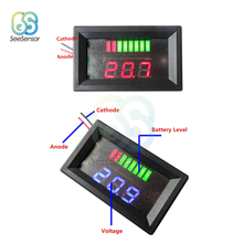 12V 24V ACID Lead Battery Charge Level Indicator Battery Tester Lithium Battery Capacity Meter LED Tester Voltmeter Dual Display autool bt 460 battery tester lead acid agm gel battery cell analyzer for 12v vehicle 24v heavy duty 4 tft colorful display