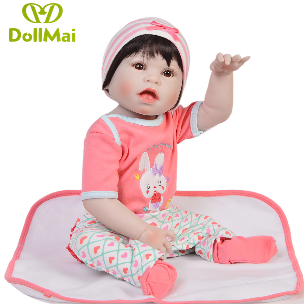 DollMai Doll Reborn baby toys 23inch bebes reborn menina full vinyl silicone body girl dolls gift real alive boneca reborn