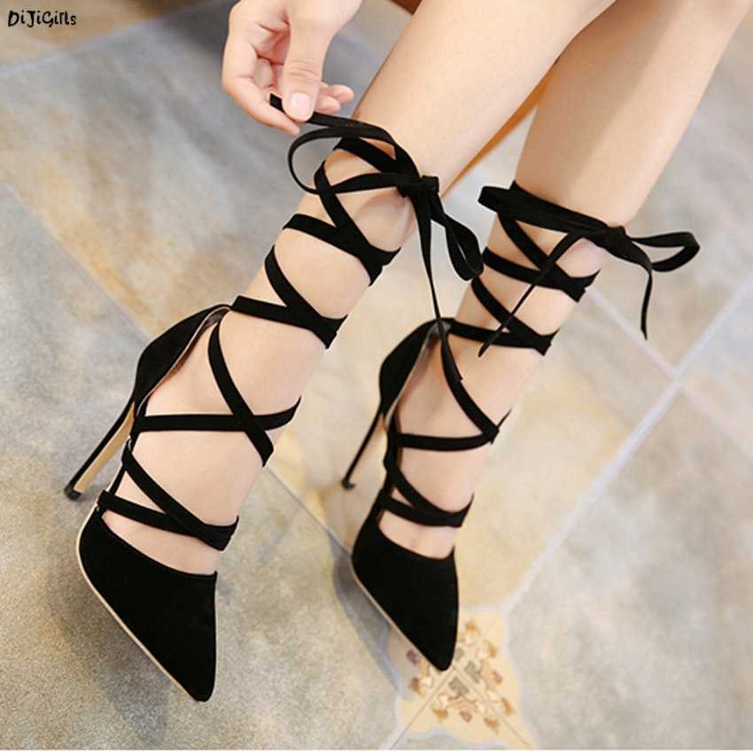 Women Sexy Pointed Toe High Heels Lace Up Fashion Black Party Shoes Woman Pumps Stiletto ZG333-63 facndinll new black patent genuine leather pointed toe rhinestone sexy high heels lace up women pumps ladies party casual shoes