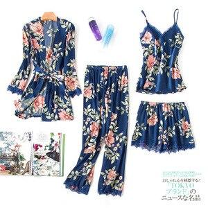 Image 2 - Fashionable Women Floral Lingerie Set Bath Robe+Cami+Shorts+Long Pants 4Pcs Pajama Set Silk Pyjamas Sleepwear Sexy Home Clothes
