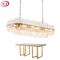 Youlaike Gold Bronze Modern Chandeleir Lighting Oval Design Chain Crystal Chandelier Dining Room Luxury LED Lustres De Cristal