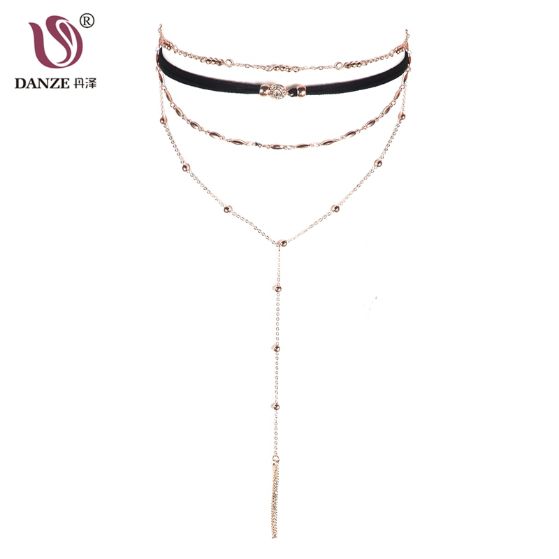 DANZE Fashion Sexy Women Multilayer Chains Choker Gothic Stripe Pendant Long Necklaces Boho Beads Jewelry Dropshipping Gift