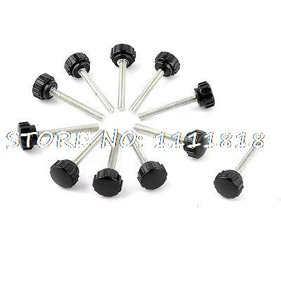 11 x Black 5mm Male Thread Dia Plastic Screw On Type Round Knurled Knob 12 x black 5mm m5 male thread dia plastic screw on round knurled knob