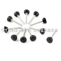 11 X Black 5mm Male Thread Dia Plastic Screw On Type Round Knurled Knob