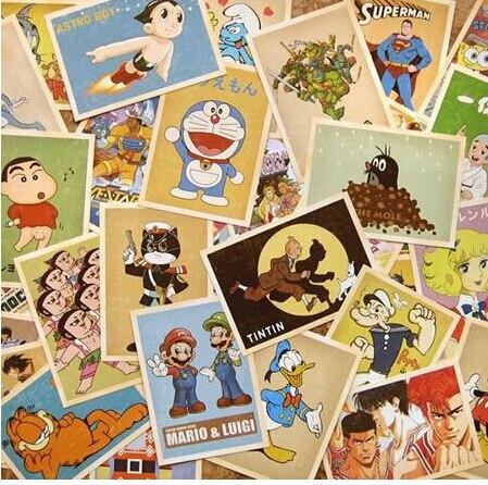 32pcs/lot NEW old memory cartoon comic post card set greeting gift cards