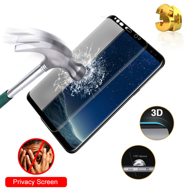 Anti-Shock For Samsung Galaxy S9 S8 Plus Glass Anti-peep Tempered Glass For Samsung Note 8 9 Case 3D Full Cover Screen Film