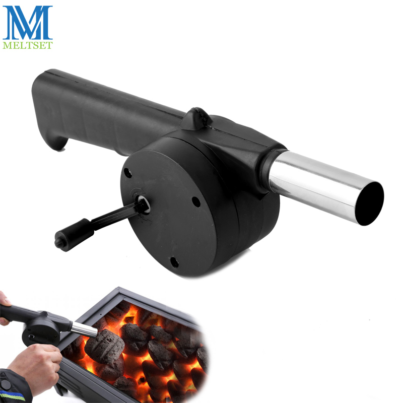 Meltset Outdoor Cooking Barbecue Fan Air Blower Hand Crank BBQ Grill Fire Bellows Portable Picnic Camping Accessories