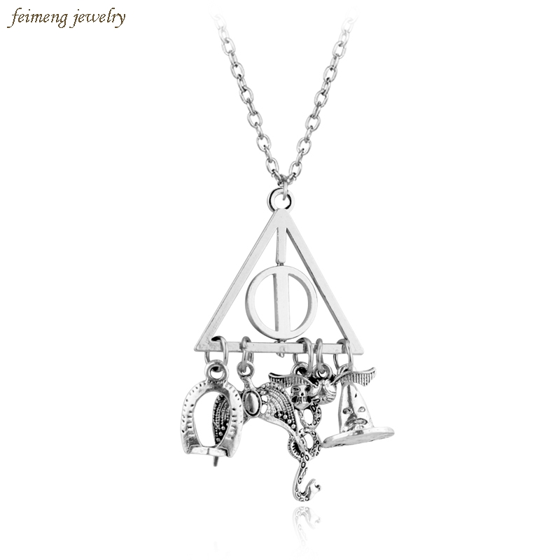 DIY Movie Jewelry Silver Plated Accessories Deathly Hallows Rotated Triangle Snake Horcrux Snitch Magic Hat Pendants Necklaces