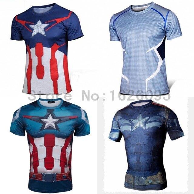 bf660145dea47 Top qualidade de compressão camisetas Superman Batman homem aranha capitão  América t shirt