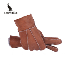 Fashion Genuine Men's Fur Gloves Sheepskin Mittens Real Sheep Leather Solid Designer Winter Warm True Sheepskin Gloves For Men