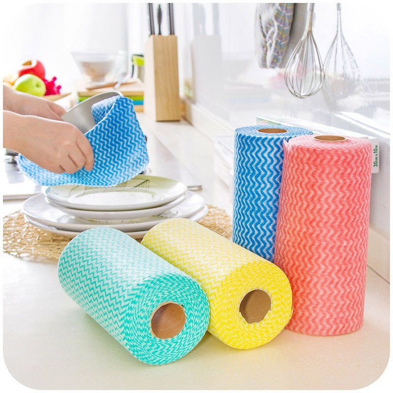 25 Pcs/Roll Non-woven Kitchen Cleaning Cloth Disposable Eco-friendly Rags Wiping Pad Furniture Kitchenware Cleaning Prouct