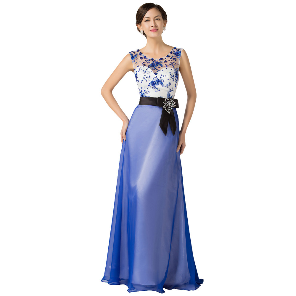 Grace Karin Long Evening Dresses Chiffon Elegant Beautiful Luxury Dinner Formal Evening Gown with Beading Robe De Soiree 2018 6