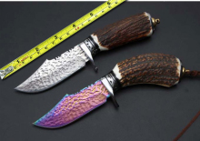 Damascus Blade Forge Hunting Fixed Knife Antler Handle Camping  Survival Knife Outdoor EDC Tools 2 colors