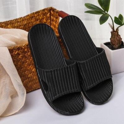 Домашние тапочки для пары; сезон лето; Домашние Нескользящие шлепанцы для ванной; уличная мода; амортизирующая повседневная обувь в полоску для мужчин и женщин; пляжная обувь - Цвет: 03 black