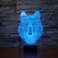 Usb 3D Night Light Wolf 7 Colors Changing Led Lamps Led Night Lights For Kids Bedroom Boys and Girls's Gift