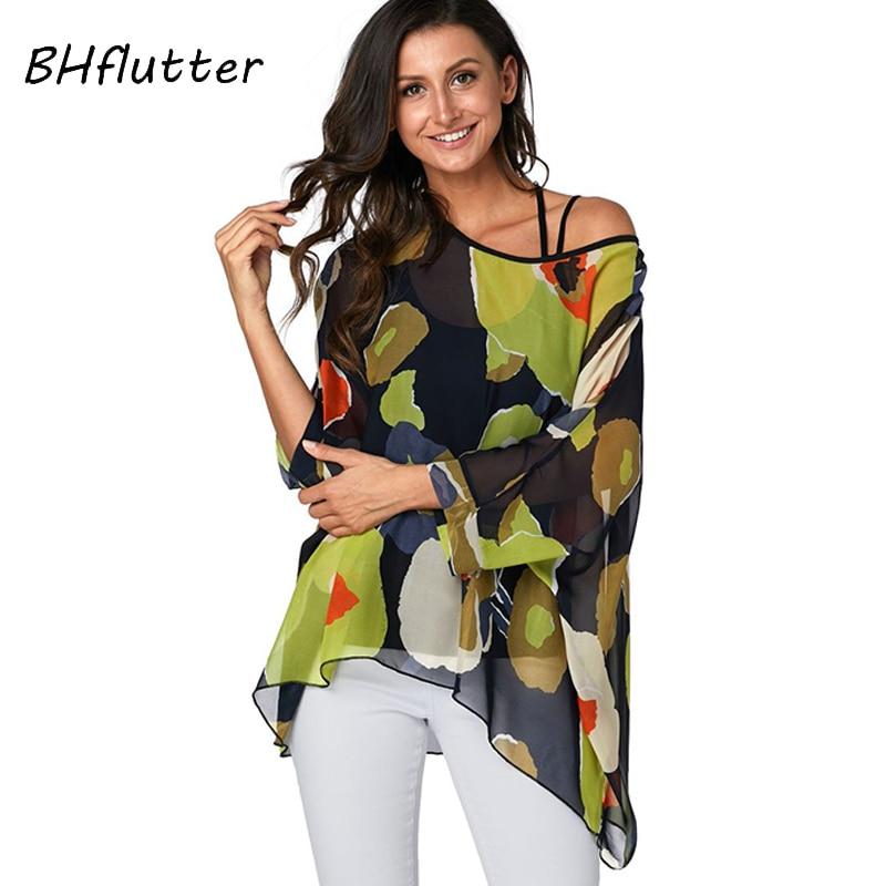 BHflutter Women Blouses Plus Size 2019 New Style Batwing Casual Summer Blouse Shirt Woman Boho Chiffon Shirts Tops Chemise Femme(China)