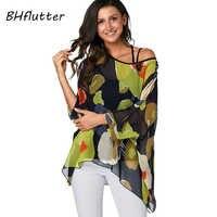 BHflutter femmes Blouses grande taille 2019 nouveau Style chauve-souris décontracté été Blouse Chemise Femme Boho en mousseline de soie dessus de Chemise Femme