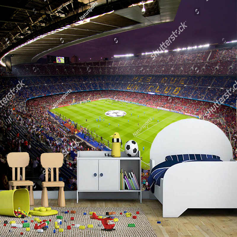 Customization of modern wall paper stereo Barcelona Camp Nou for living room bedroom TV setting wall waterproof vinyl wallpaper