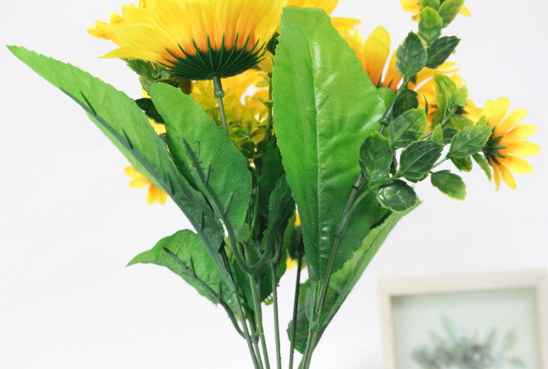 JAROWN Simulation Sunflower Bouquet Artificial Silk Fake Flowers For Home Office Tabletop Decor Wedding Decorations (6)