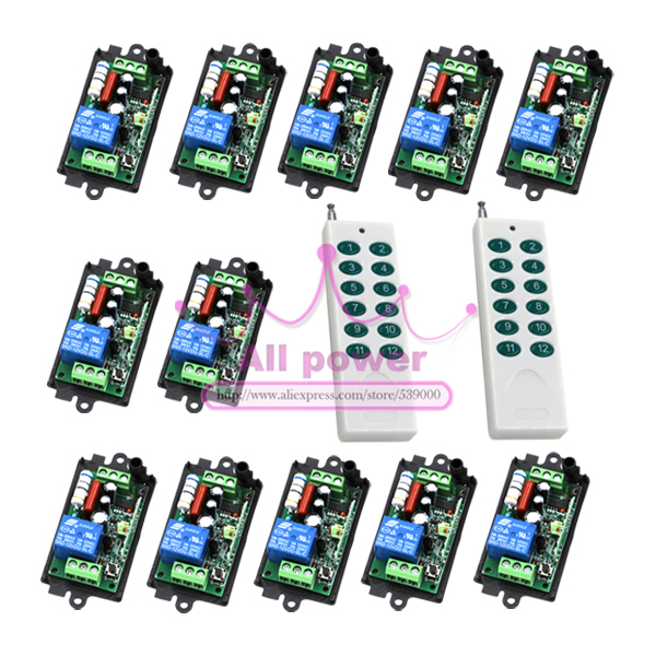 AC220V 30MA 200M 1 Channel 2Controller+12Receiver Wireless Remote Control Switch Relay for Smart Control цены