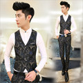 2017 fall clothing new arrival Korean Slim Men's suit  vest v-neck single-breasted the vest fashion wild inlay color patterns