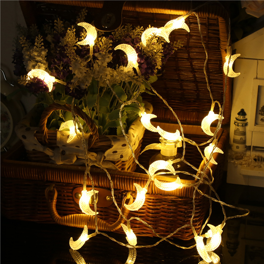 10/20/40 LED Moon String Lights Battery Powered Moon Shape Night Lights Holiday Christmas Wedding Party Ramadan Decoration Light