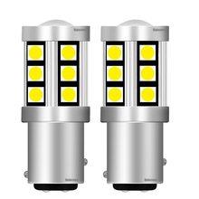 2 uds nuevo 1157 P21/4 W BAY15D 15 SMD 3030 LED coche de la lámpara de cola a señales Motor de freno bombilla de luz diurna rojo ámbar blanco