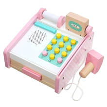 цена на Children'S Electronic Supermarket Cash Register Toy Children Learning Education Pretend Toy Wooden Cash Register Toy