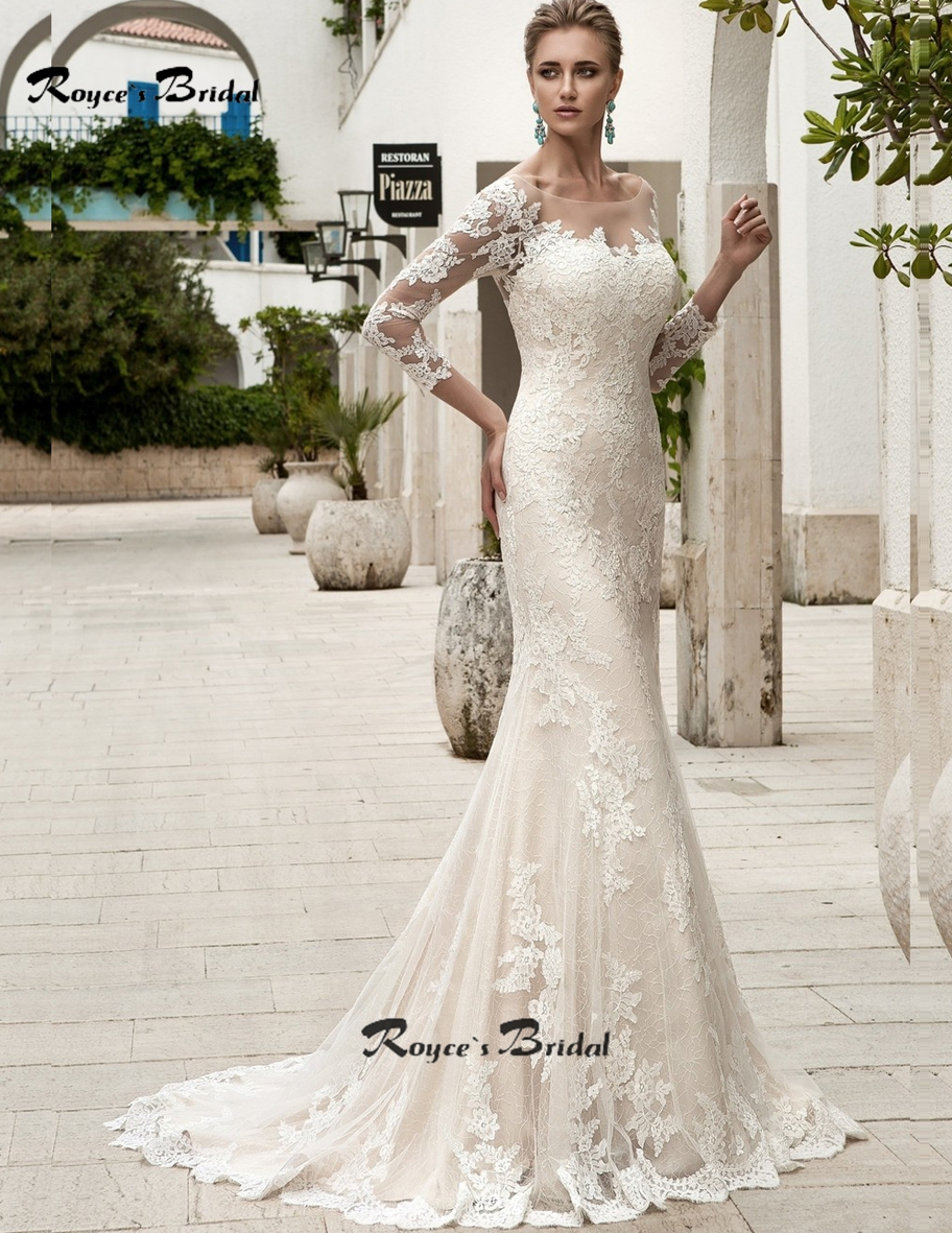 Glamour Scoop Lace Sheath Wedding Dresses with 3/4 Sleeve Vestido de ...