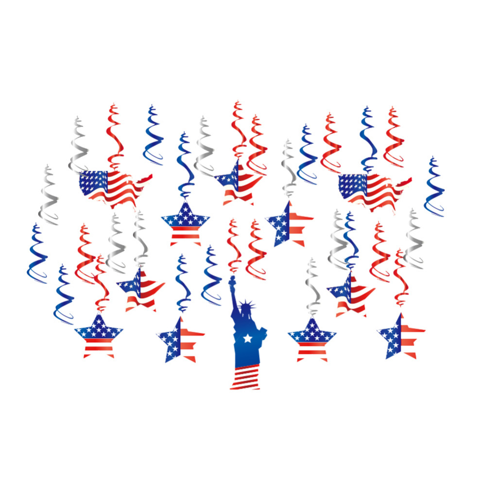 30pcs Red Blue White Metallic Hanging Swirl Decorations Ceiling Danglers Star Stripes American 4th of July Independence Day in Party DIY Decorations from Home Garden